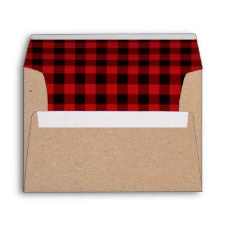 Rustic Craft Paper and Plaid Holiday Envelopes