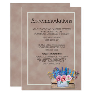 Rustic Crate of Lavender Wedding Accommodations Card