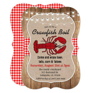 graphic about Crawfish Boil Invitations Free Printable known as Rustic Crawfish Boil Invitation