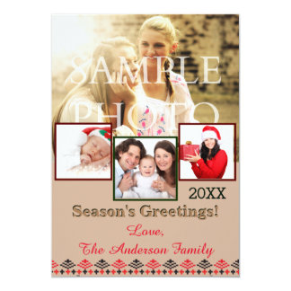 Rustic Crochet Collage Holiday Photo Card