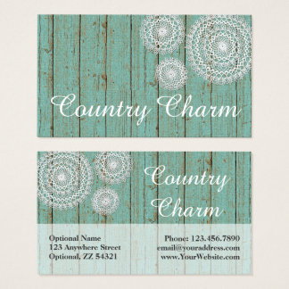 Rustic Crochet Doilies on Turquoise Farmhouse Wood Business Card