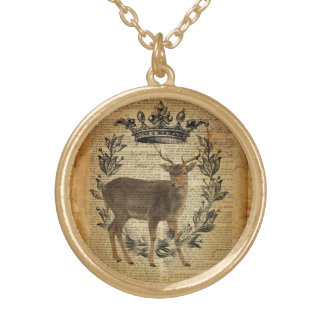 Rustic crown outdoorsman whitetail buck Deer Gold Plated Necklace