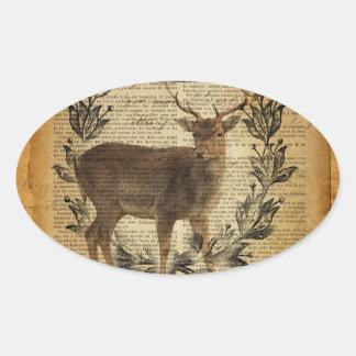 Rustic crown outdoorsman whitetail buck Deer Oval Sticker