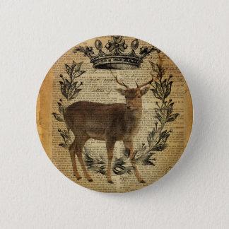 Rustic crown outdoorsman whitetail buck Deer Pinback Button