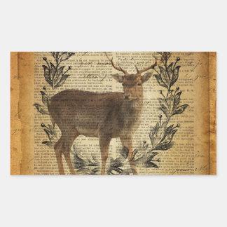 Rustic crown outdoorsman whitetail buck Deer Rectangular Sticker
