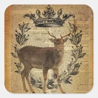 Rustic crown outdoorsman whitetail buck Deer Square Sticker