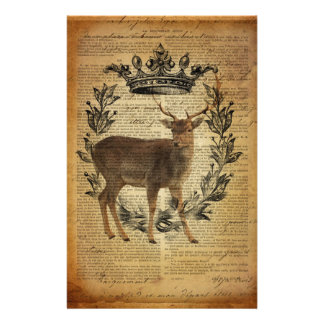 Rustic crown outdoorsman whitetail buck Deer Stationery