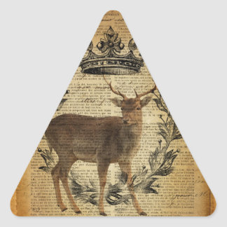 Rustic crown outdoorsman whitetail buck Deer Triangle Sticker