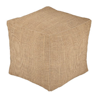 Rustic Cubed Pouf with print of brown canvas