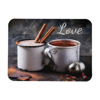 Rustic Cup of Tea and Hot Chocolate in Love Magnet