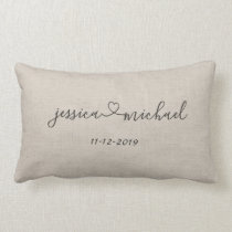 Rustic Cursive Script Heart Names Wedding Date Tan Lumbar Pillow