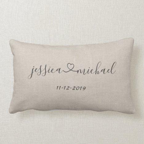 Rustic Cursive Script Heart Names Wedding Date Tan Lumbar Pillow