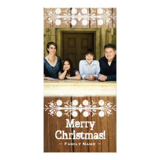 Rustic Cut Wood Frame Photo Christmas Card