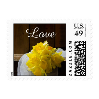 Rustic Daffodil and Barn Wood Country Love Wedding Postage Stamps