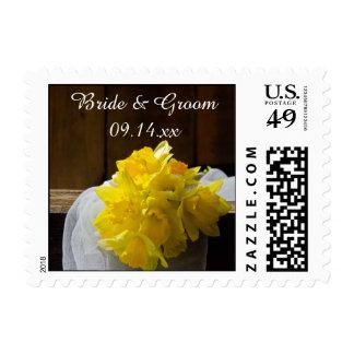 Rustic Daffodils and Barn Wood Country Wedding Postage