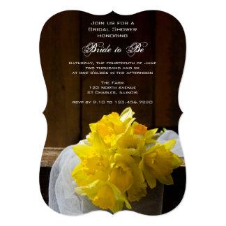 Rustic Daffodils Barn Wood Country Bridal Shower Card