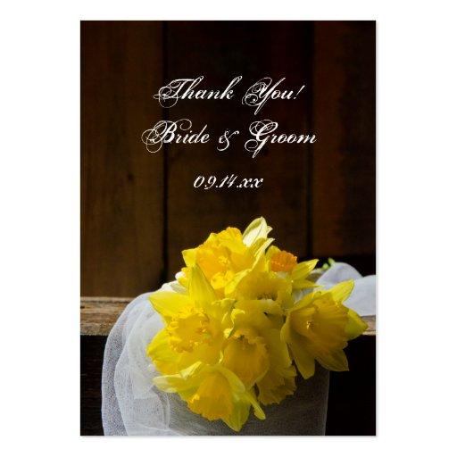 Rustic Daffodils Barn Wood Wedding Favor Tags Large Business Card
