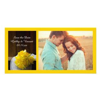 Rustic Daffodils Barn Wood Wedding Save the Date Card