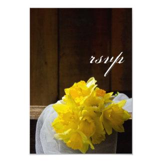 Rustic Daffodils Wedding Response Card Custom Invite