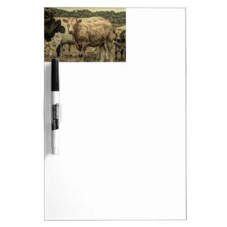 Rustic Dairy Farm Animal Brown Swiss Cow Dry-Erase Board