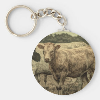 Rustic Dairy Farm Animal Brown Swiss Cow Keychain