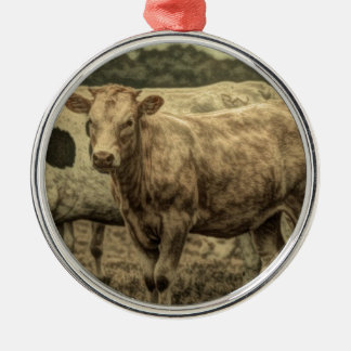Rustic Dairy Farm Animal Brown Swiss Cow Metal Ornament