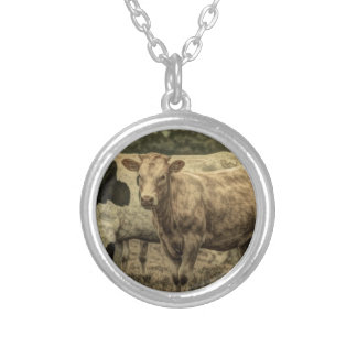 Rustic Dairy Farm Animal Brown Swiss Cow Silver Plated Necklace