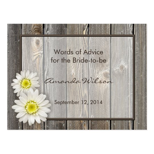 Rustic Daisies Bridal Shower Advice Cards