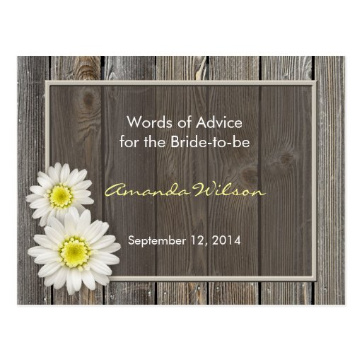 Rustic Daisies Bridal Shower Advice Cards Postcards