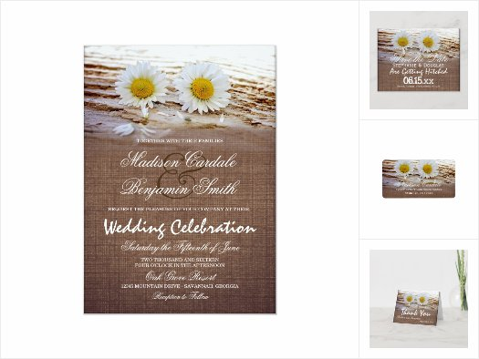Rustic Daisies Burlap Print Wedding Invitation Set