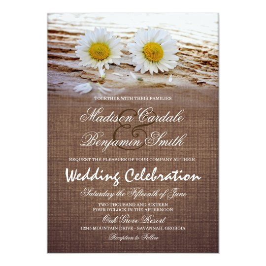 Rustic Daisy Wedding Invitations: Rustic Daisies Burlap Print Wedding Invitations