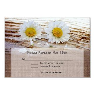Rustic Daisies Burlap Print Wedding RSVP Cards
