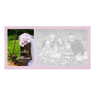 Rustic Daisies Country Just Married Photo Card