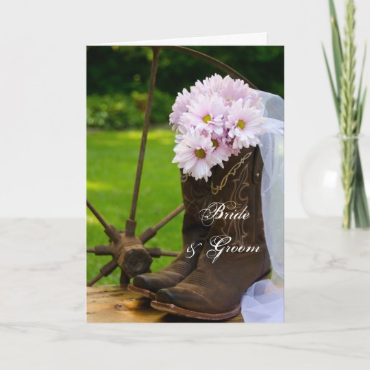 Rustic Daisy Wedding Invitations: Rustic Daisies Cowboy Boots Wedding Invitation