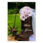 Rustic Daisies Cowboy Boots Wedding Invitation Greeting Card