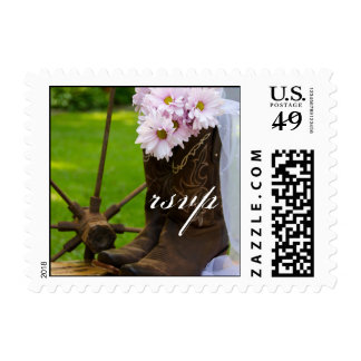 Rustic Daisies Cowboy Boots Wedding RSVP Stamps