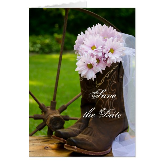 Rustic Daisies Cowboy Boots Wedding Save the Date Card