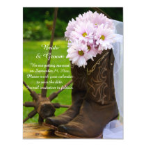 Rustic Daisies Cowboy Boots Wedding Save the Date Magnetic Card