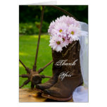 Rustic Daisies Cowboy Boots Wedding Thank You Note Greeting Card