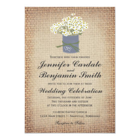 Rustic Daisies Double Hearts Burlap Wedding Invite