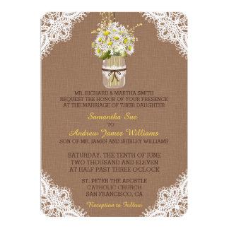 Rustic Daisies Mason Jar Lace Wedding Invitation