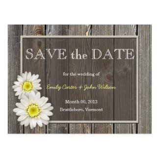 Rustic Daisies Save the Date Postcard