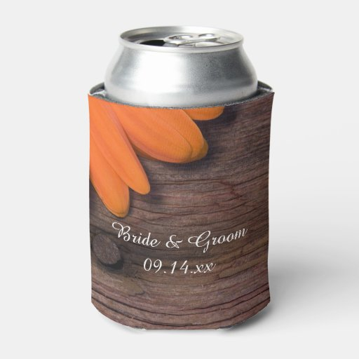 Rustic Daisy And Barn Wood Country Wedding Favors Can Cooler