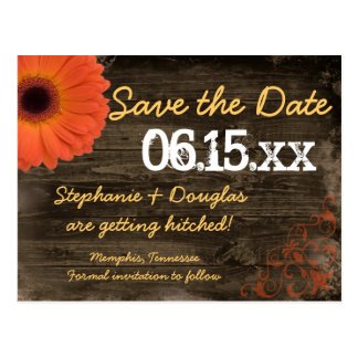 Rustic Daisy Barn Wood Save The Date Postcards