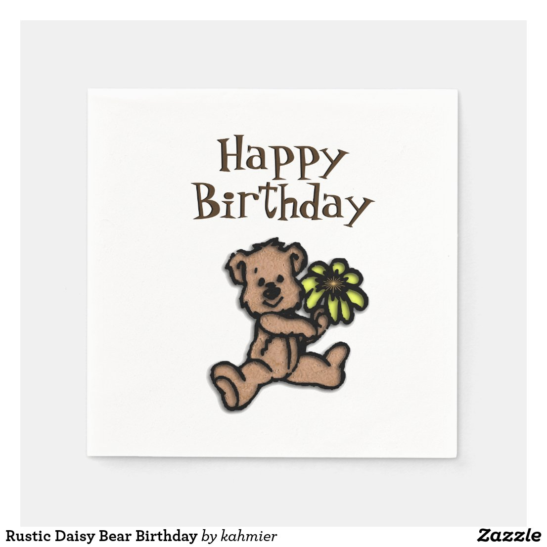Rustic Daisy Bear Birthday Napkin