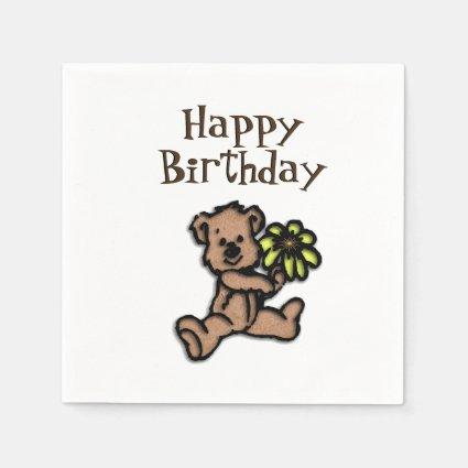 Rustic Daisy Bear Birthday Napkin