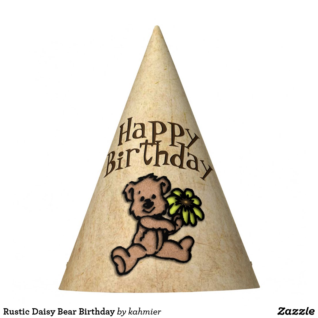 Rustic Daisy Bear Birthday Party Hat