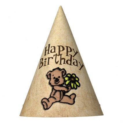 Rustic Daisy Bear Birthday Party Hat