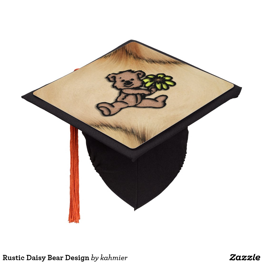 Rustic Daisy Bear Design Graduation Cap Topper