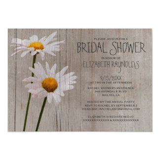 "Rustic Daisy Bridal Shower Invitations 5"" X 7"" Invitation Card"
